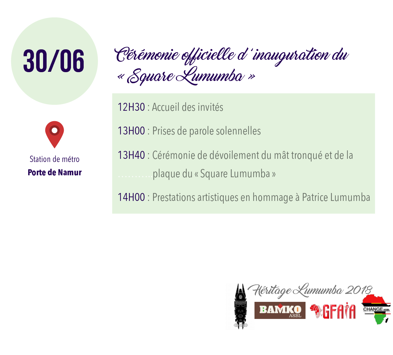 30 juin unauguration place lumumba a bruxelles